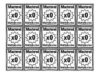 Multiplication Brag Tags in Black & White