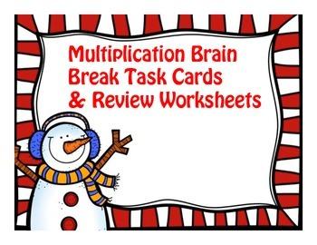 Multiplication Brain Break Task Cards and Review Worksheets