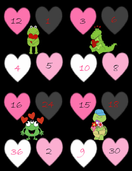 Multiplication Bump Game: Valentine's Day