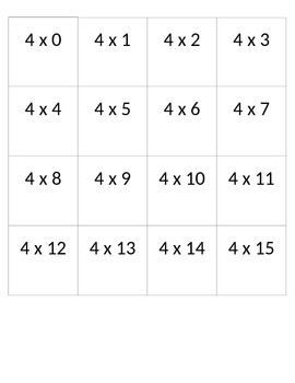 Multiplication Cards 4