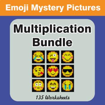 Multiplication Color-By-Number EMOJI Mystery Pictures Bundle