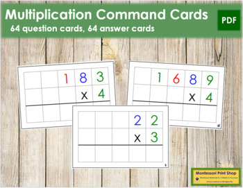 Multiplication Command Cards - color coded