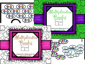 Multiplication Commutative Property for 11s and 12s with V