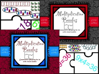 Multiplication Commutative Property for 3s and 4s with Vis