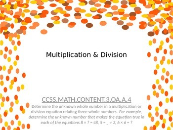 Thanksgiving Multiplication & Division