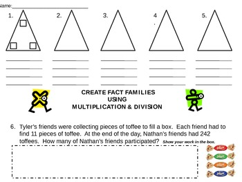 Multiplication & Division Fact Familys