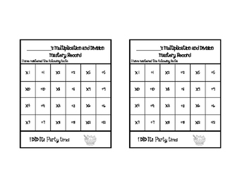 Multiplication & Division Fact Mastery- Student Record Keeper