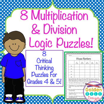 Multiplication & Division Logic Puzzles Grades 4, 5, 6 Adv