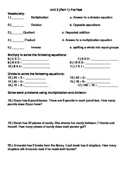 Multiplication/ Division Pre-Test