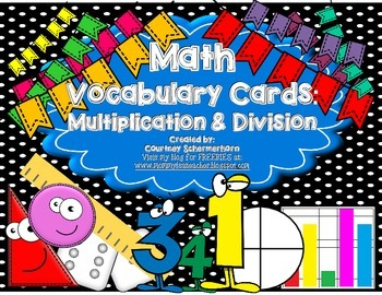 Vocabulary Cards-Multiplication & Division Terms for Bulle