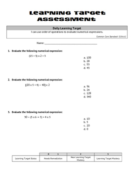 Multiplication & Division (Whole Numbers): Order of Operations