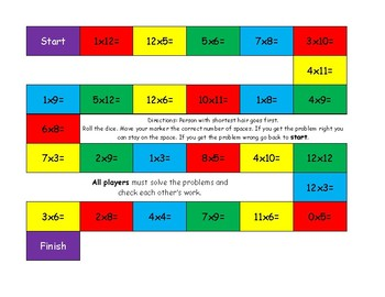 Multiplication, Division, and Combination of both Game Board