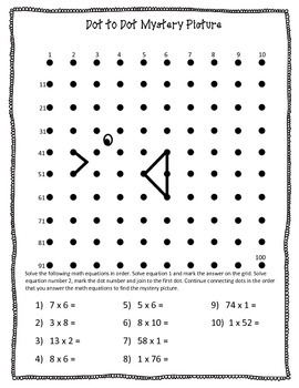 Multiplication Dot-to-Dot Mystery Picture