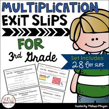 Multiplication Exit Slips - 3rd Grade
