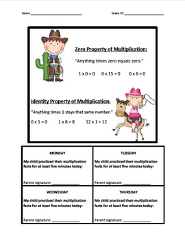 Multiplication Fact Logs Cowboys and Cowgirls (0-12)