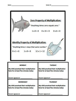 Multiplication Fact Logs Ocean (0-12)