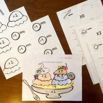 Multiplication Fact Sundae - assessment tests quizzes and