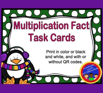 Multiplication Fact Task Cards with and without QR Codes (