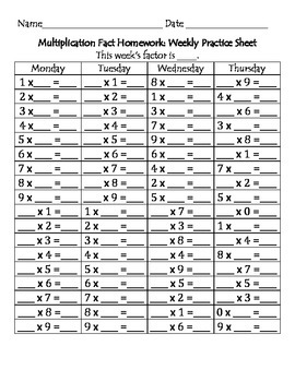 Multiplication Fact Weekly Practice Sheet