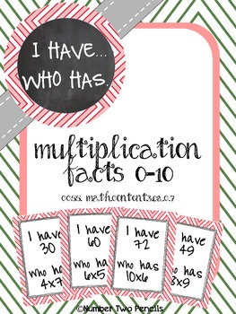 Multiplication Facts 0-10, I have, Who Has?