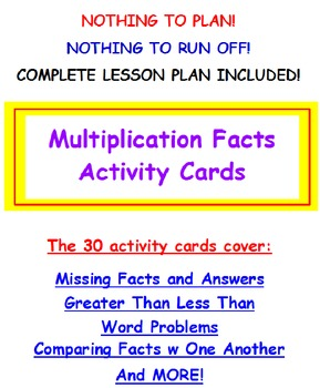 Multiplication Facts Activity Task Cards and Lesson Plan (
