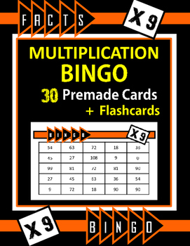 Multiplication Facts Bingo - 9s Flashcards, 30 pre-made Bi