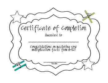 Multiplication Facts Certificate