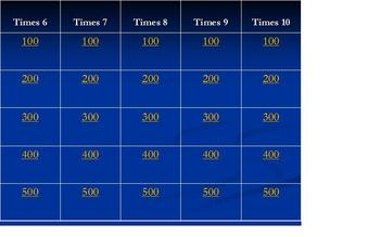 Multiplication Facts Practice (6-10) Jeopardy Game