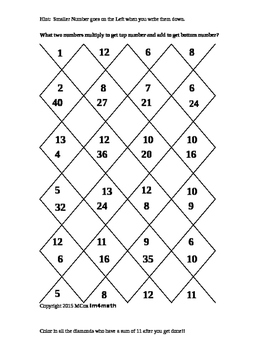 Multiplication Facts Puzzles to Help Algebra Factoring Ski