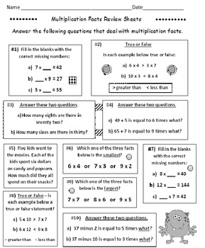 Multiplication Facts Review Sheets