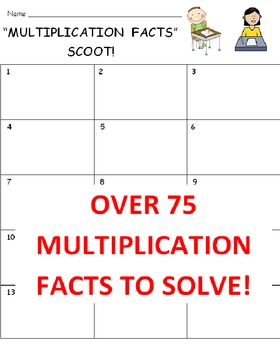 Multiplication Facts SCOOT Game (Cards, Grid, Complete Les