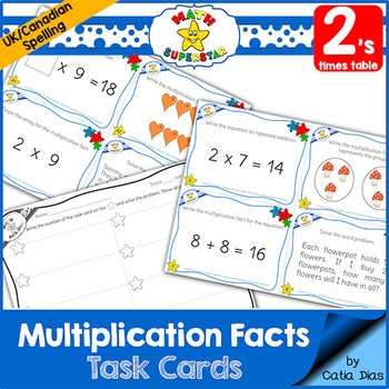 Multiplication Facts Task Cards - 2's times table - Canadi