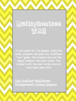 Multiplication Facts WAR Game