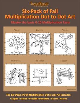 BUNDLE of Multiplication Fall & Halloween Dot to Dot Art