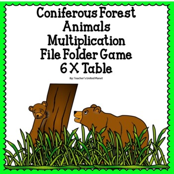 Multiplication File Folder Games 6 X Coniferous Forest Animals
