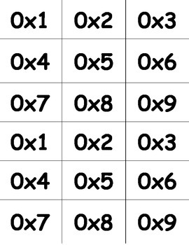 Multiplication Flash Cards (0-12)