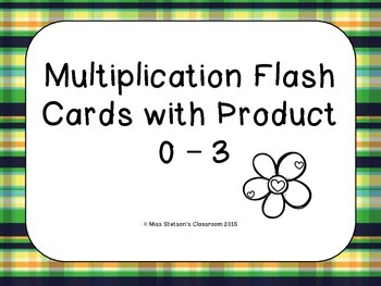 Multiplication Flash Cards Factors 0 - 3