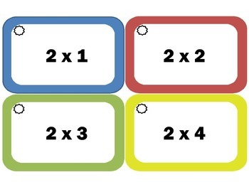 Multiplication Flash Cards: Twos, Multiplication Facts of 2