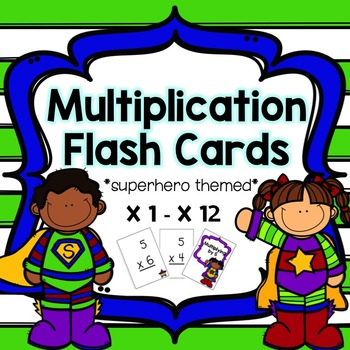 Multiplication Flash Cards - Superhero Set