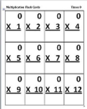 Multiplication Flash Cards x 0 - x 12