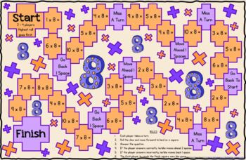 Multiplication Game Board for X8 Facts