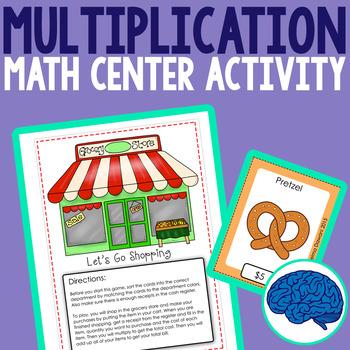 Multiplication Grocery Shopping Math Center for Third Grade