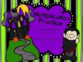 Multiplication Halloween 4 Corners