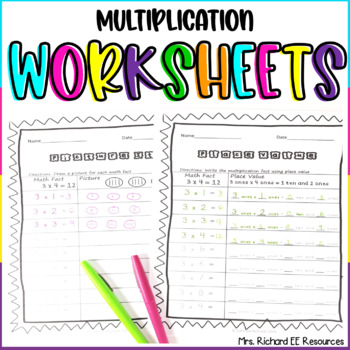 Multiplication Homework Worksheets! Facts 1-9 With Tracing!