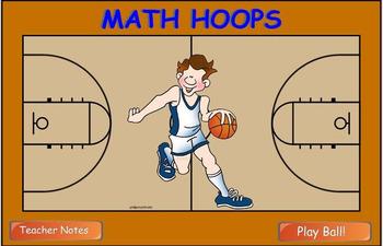 Math Multiplication Hoop Shoot Smart Board game (3 digits
