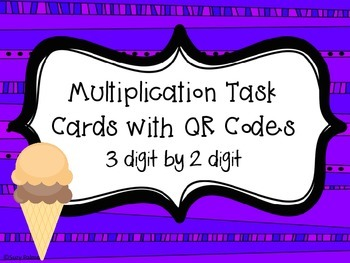 Multiplication Ice Cream Cones Task Cards with QR Codes {3