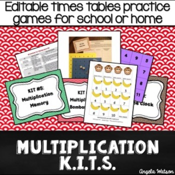 Multiplication KITs: Editable math games for school or home