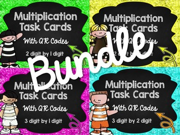 Multiplication Madness Task Cards with QR Codes Bundle