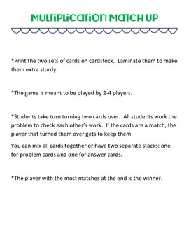 Multiplication Match Up Game