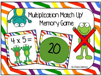 Multiplication Match Up/ Memory Game-Frog Edition